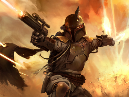 Boba Fett In Action Poster Print Framed Canvas Art