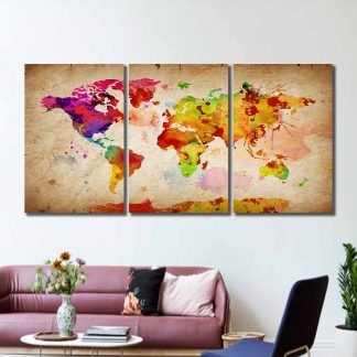 3 Panels Paint Stroked World Map Multi Piece Framed Canvas Art Poster Print