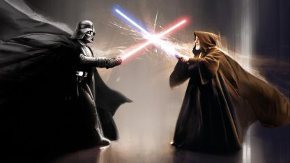 Darth Vader Vs Obi-Wan Kenobi Poster Print Framed Canvas Art