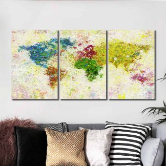 3 Panels Paint Dotted World Map Multi Piece Framed Canvas Art Poster Print