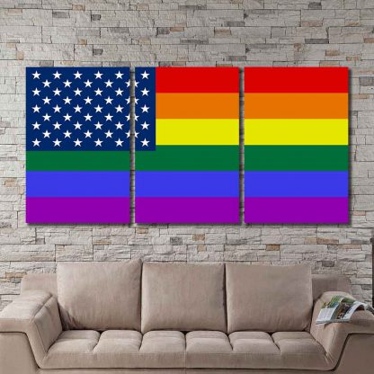 3 Panels Rainbow Pride Flag With Stars Multi Piece Framed Canvas Art Poster Print
