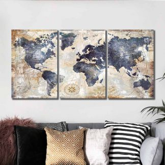 3 Panels Historical World Map Multi Piece Framed Canvas Art Poster Print
