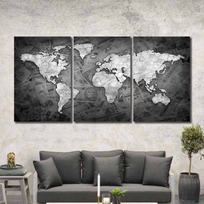 3 Panels Dollar Bill World Map Multi Piece Framed Canvas Art Poster Print