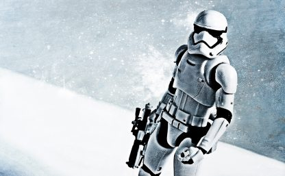 Stormtrooper In Snow Poster Print Framed Canvas Art