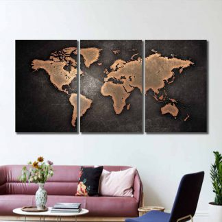 3 Panels Artistic World Map Multi Piece Framed Canvas Art Poster Print