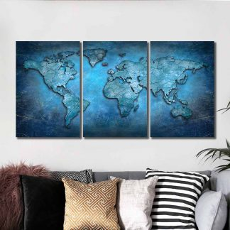 3 Panels Ancient Map Of Earth Multi Piece Framed Canvas Art Poster Print
