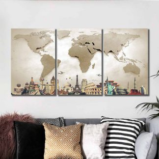 3 Panels Wonders Of The World Multi Piece Framed Canvas Art Poster Print