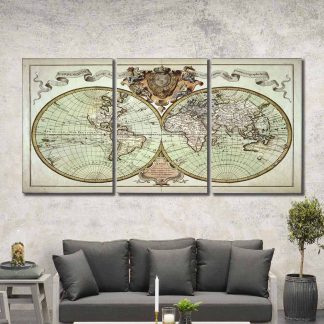 3 Panels French Globe Of World Multi Piece Framed Canvas Art Poster Print