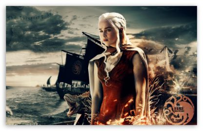 Daenerys And Her Army Poster Print Framed Canvas Art