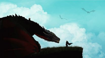 Daenerys Allows Jon Snow To Mount Rhaegal Poster Print Framed Canvas Art