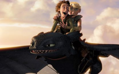 1 Panel Romantic Flight of Hiccup And Astrid Multi Canvas Art