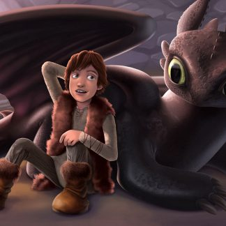 1 Panel Toothless And Hiccup Multi Canvas Art