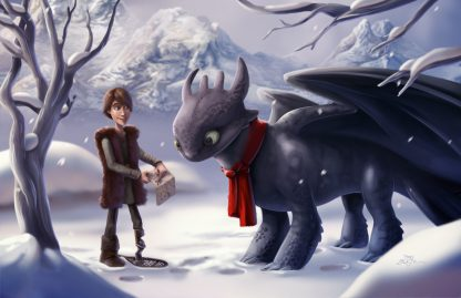 1 Panel Hiccup And Toothless In Snow Multi Canvas Art