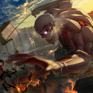 1 Panel Mikasa vs. Armored Titan Multi Canvas Art