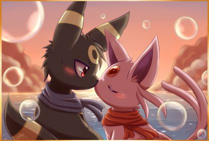 1 Panel Umbreon and Espeon Multi Canvas Art