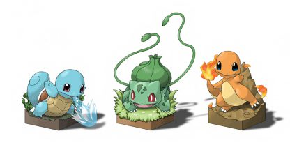 1 Panel Squirtle Bulbasaur and Charmander Multi Canvas Art