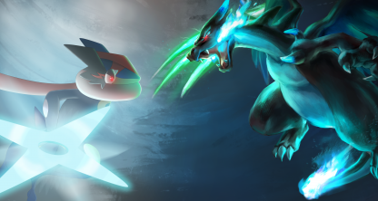 1 Panel Greninja Vs. Mega Charizard X Multi Canvas Art