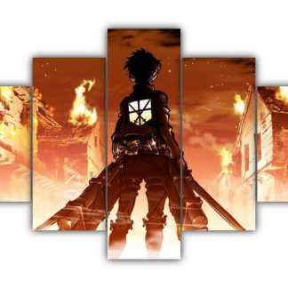 5 Panels Attack on Titan poster Multi Canvas Art