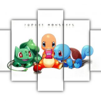 5 Panels Bulbasaur Charmander and Squirtle Multi Canvas Art