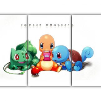 3 Panels Bulbasaur Charmander and Squirtle Multi Canvas Art