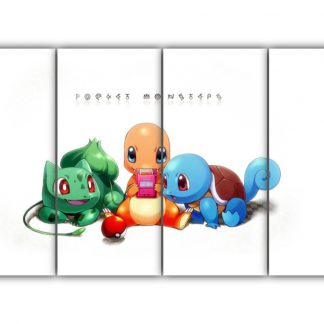 4 Panels Bulbasaur Charmander and Squirtle Multi Canvas Art