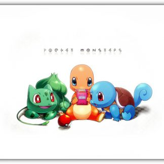 1 Panel Bulbasaur Charmander and Squirtle Multi Canvas Art
