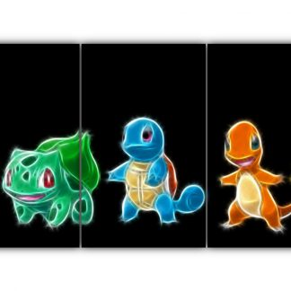 3 Panels Charmander Squirtle and Bulbasaur Multi Canvas Art