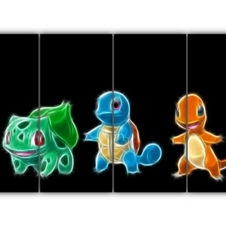 4 Panels Charmander Squirtle and Bulbasaur Multi Canvas Art