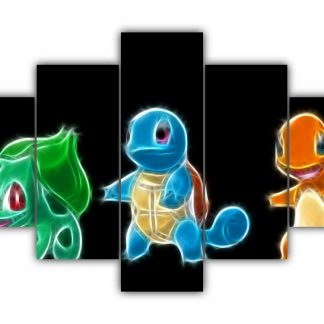 5 Panels Charmander Squirtle and Bulbasaur Multi Canvas Art
