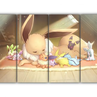 4 Panels Eevee and her forms Multi Canvas Art