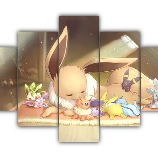 5 Panels Eevee and her forms Multi Canvas Art