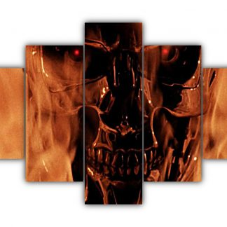 5 Panels Endoskeleton On Fire Multi Canvas Art
