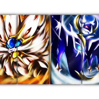 4 Panels Entei Vs. Mysterious Pokemon Multi Canvas Art