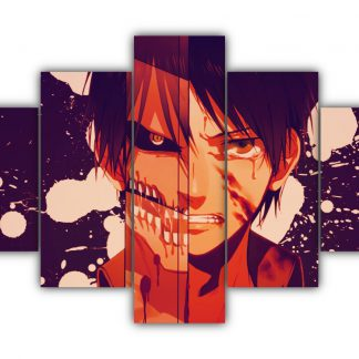 5 Panels Eren Titan Multi Canvas Art