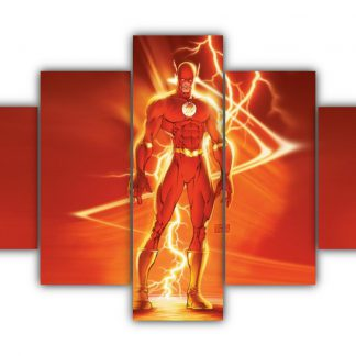 5 Panels Flash from Justice League Multi Canvas Art