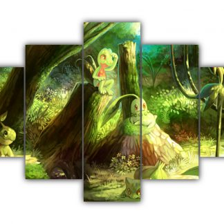 5 Panels Grass Type Pokemon Multi Canvas Art