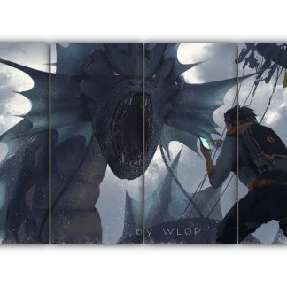 4 Panels Gyarados Vs. Brock Multi Canvas Art