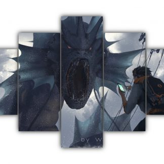 5 Panels Gyarados Vs. Brock Multi Canvas Art
