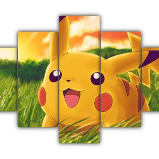 5 Panels Happy Pikachu Multi Canvas Art