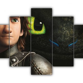 5 Panels Hiccup and Toothless Relationship Multi Canvas Art