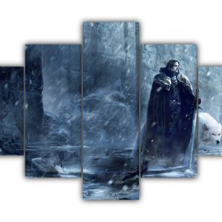 5 Panels Jon Snow and Ghost Multi Canvas Art