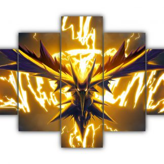 5 Panels Lightening Zapdos Multi Canvas Art