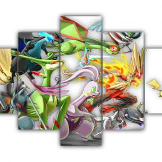 5 Panels Many Pokemon Multi Canvas Art