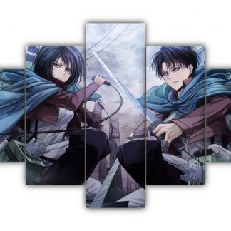 5 Panels Mikasa and Levi Multi Canvas Art