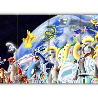 4 Panels Mythical and Legendary Pokemon Multi Canvas Art