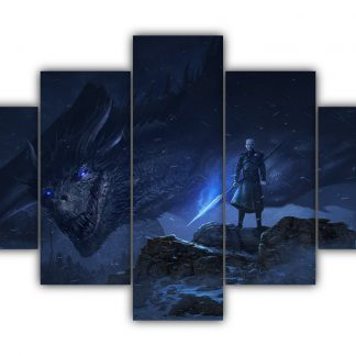 5 Panels Night King And The Ice Dragon Multi Canvas Art