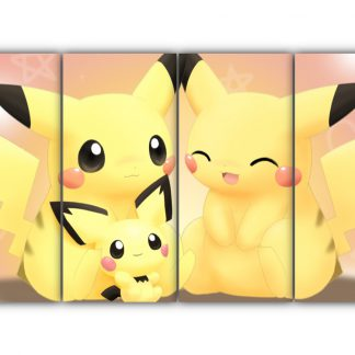 4 Panels Pikachu family Multi Canvas Art