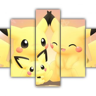 5 Panels Pikachu family Multi Canvas Art