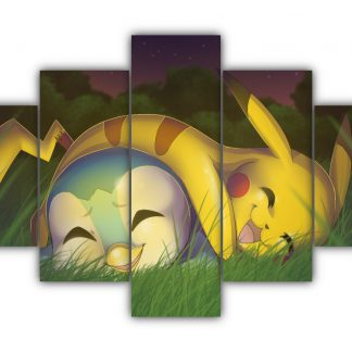 5 Panels Piplup and Pikachu Multi Canvas Art