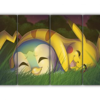 4 Panels Piplup and Pikachu Multi Canvas Art